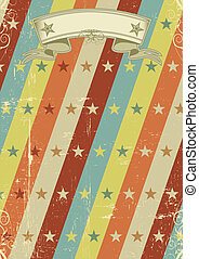 vintage stars pattern poster - A vintage poster with a...