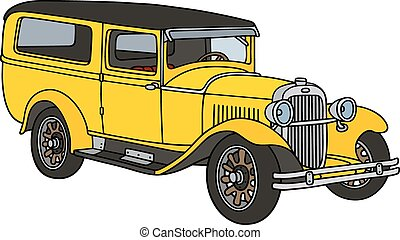 Vintage station wagon - Hand drawing of a vintage yellow...