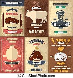 Vintage Steak House Posters Set