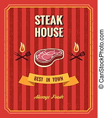 Vintage steak poster vector template