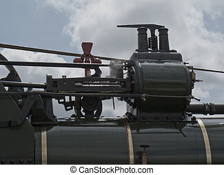 vintage steam engine closeup