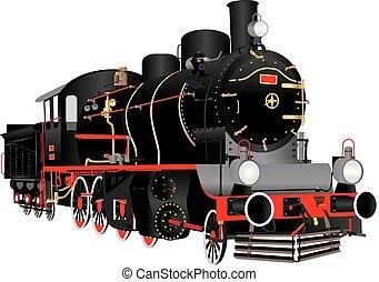 Vintage Steam Engine - A Vintage Black and Red Steam...