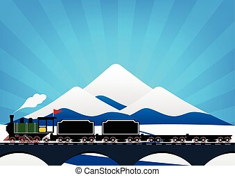 Vintage Steam engine locomotive train truck moving down railroad track on river bridge and on ice mountain with snow and sun ray in background. Vector illustration flat design transportation concept.