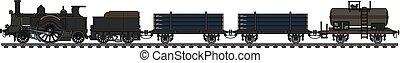 Vintage steam freight train