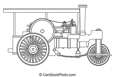 Vintage Steam Roller Outline