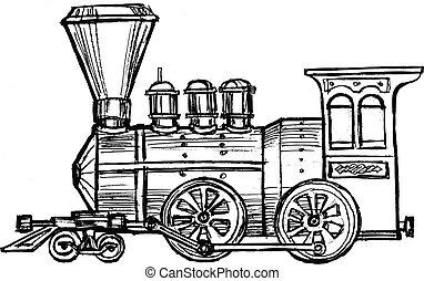 vintage steam train - hand drawn, sketch, cartoon...
