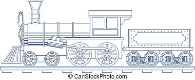 Vintage Steam Train Engrave Illustration. Vector