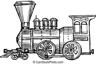 vintage steam train - hand drawn, sketch, cartoon...