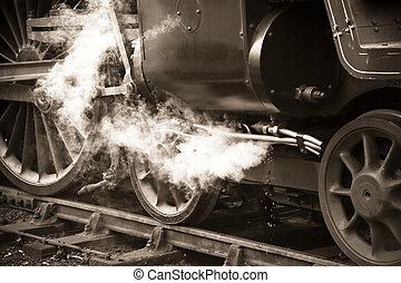 sepia toned vintage steam locomotive detail