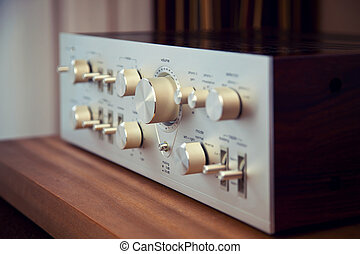 Vintage Stereo Amplifier Shiny Metal Front Panel Controls ...