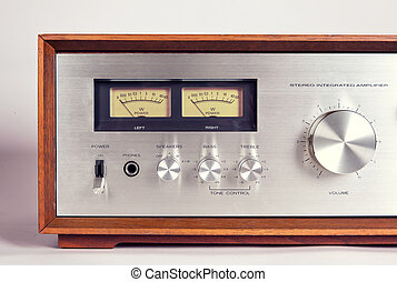 Vintage Stereo Audio Amplifier VU Meters closeup