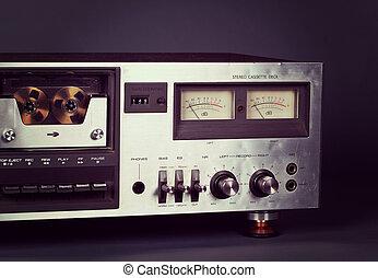 Vintage stereo cassette tape deck player recorder