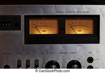 Vintage stereo cassette tape deck player recorder VU meters