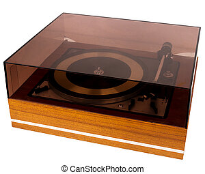 Vintage stereo turntable vinyl record player with a dust cover