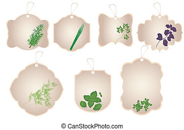 Vintage stickers with kitchen herbs