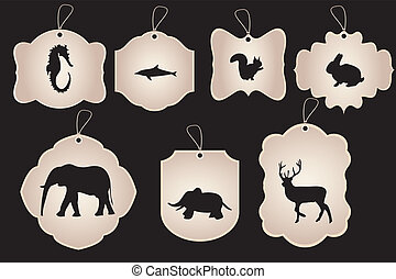 Vintage stickers with silhouettes of animals isolated on black