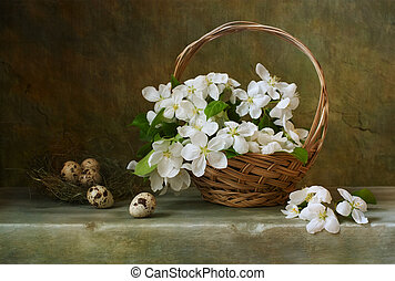 Vintage still life with a basket of flowers apple