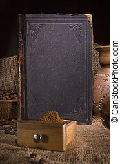 Vintage still life with an old book