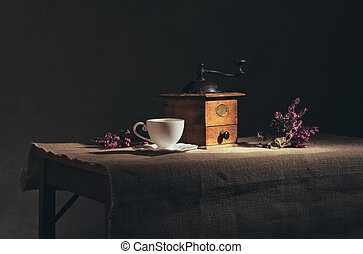 vintage still life with coffee grinder