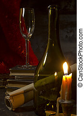 Vintage still life with wine