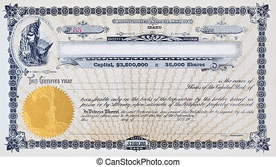 Vintage stock certificate. Vignette (name for the oval illustration on stock certificate) is of Woman holding an American flag and a shield. The shield has a moose and three branches on it. There is a bald eagle at her side. This is an old railroad company stock certificate.