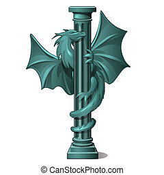Vintage stone column decorated with the figure of a winged dragon isolated on white background. Vector cartoon close-up illustration.
