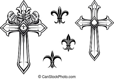 Vintage stone cross with heraldic elements for design