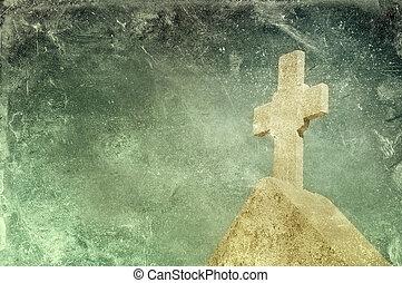 Vintage stone cross on grunge background, religious motif