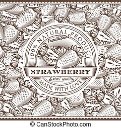 Vintage Strawberry Label On Seamless Pattern