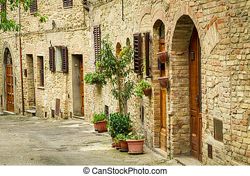Vintage street decorated with flowers, Italy