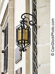 Vintage Street Lamp Hanging On A Wall