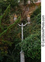Vintage Street lamp lights in Monaco city