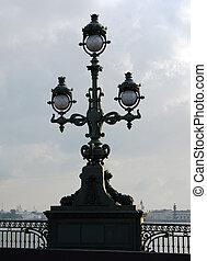 vintage street lamp on embankment