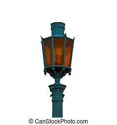 vintage street lamp on white