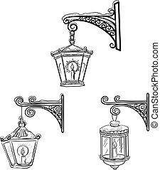 Vintage street lanterns, contours - Set vintage street...