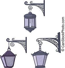 Vintage street lanterns - Set vintage street non-luminous...