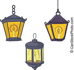 Vintage street lanterns - Set vintage street luminescent ...