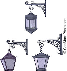 Vintage street lanterns - Set vintage street non-luminous ...