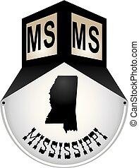 Vintage street sign for Mississippi