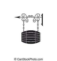 Vintage street signboard hanging on forged brackets with barrel shaped wooden icon isolated. Suitable for advertisements bar, cafe, pub, restaurant. Flat design. Vector Illustration