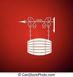 Vintage street signboard hanging on forged brackets with barrel shaped wooden icon isolated on red background. Suitable for advertisements bar, cafe, pub, restaurant. Flat design. Vector Illustration