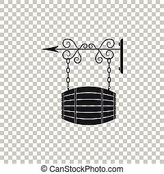 Vintage street signboard hanging on forged brackets with barrel shaped wooden icon isolated on transparent background. Suitable for advertisements bar, cafe, pub, restaurant. Vector Illustration
