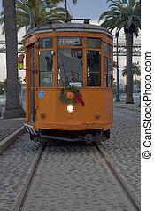 vintage streetcar of San Francisco - vintage orange...