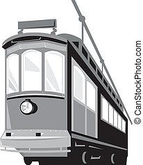 Vintage Streetcar Tram Train - Illustration of a vintage...