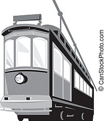 Illustration of a vintage streetcar tain tram viewed from a low angle on isolated white backgropund done in retro style.