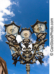 Vintage Streetlamps on a sunny day with blue sky