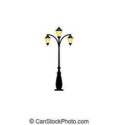 Vintage streetlight with three lamps