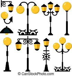 Vintage streetlights set. Black outdoor light posts, street lamps, street lanterns collection. Flat design vector illustration