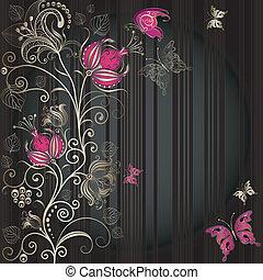 Vintage striped easter frame - Vintage dark striped easter ...