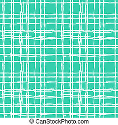 Vintage striped seamless pattern with crossing brushed lines in turquoise and white colors. Vector hand drawn plaid texture.